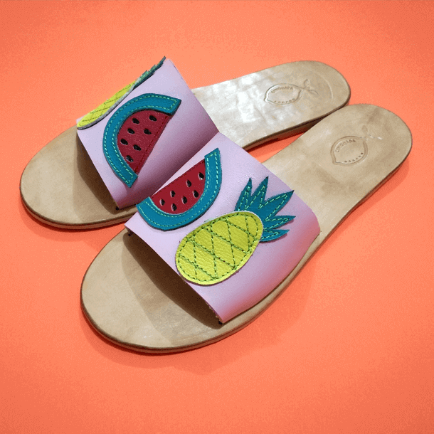 Pineapple and Watermelon Leather Sandal