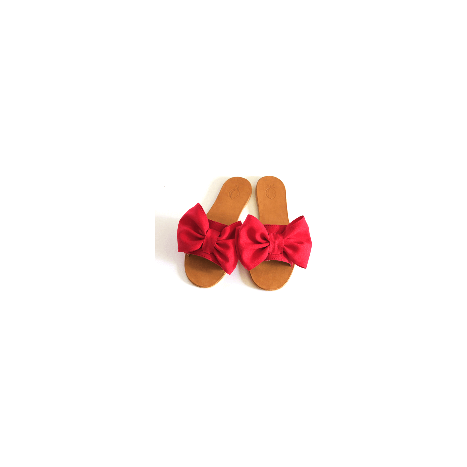 Sandal red fabric bow