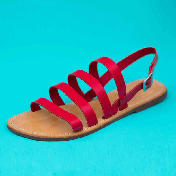 Sandal Strawberry on leather ribbons