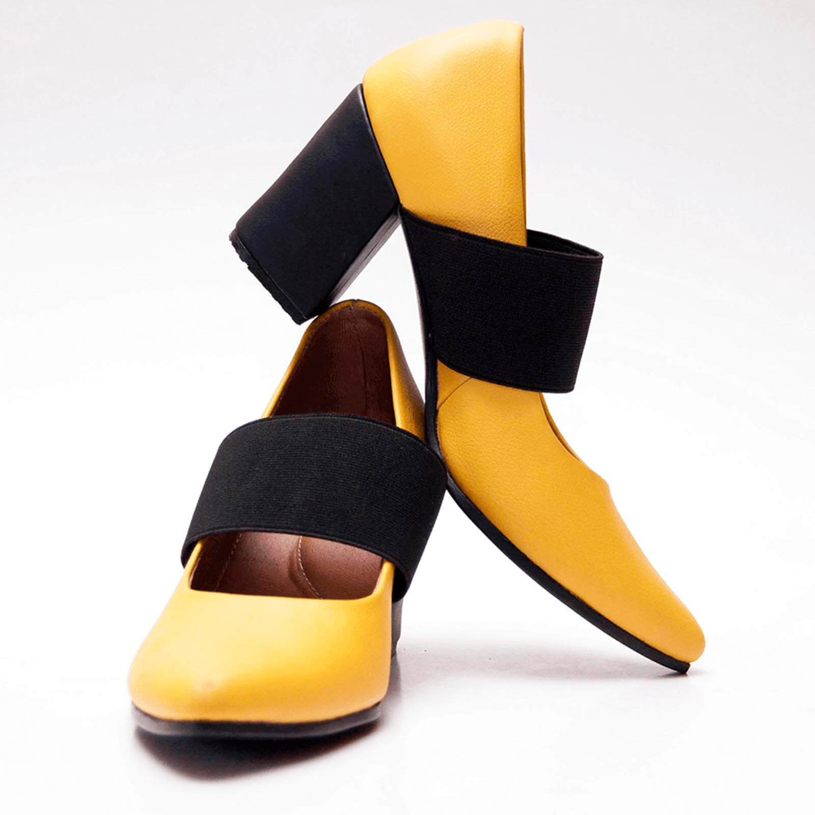 Yellow pointy toe pump