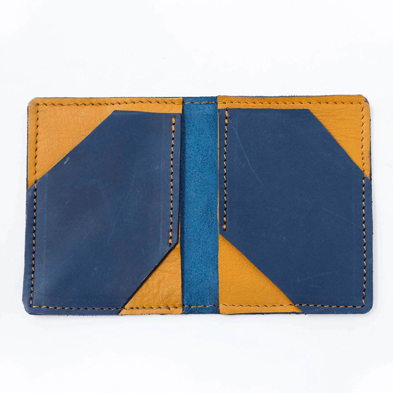 Medium  Blue & Mustard Card Holder